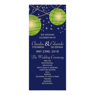 Festive Lanterns with Dark Blue & Apple Green 4x9.25 Paper Invitation Card
