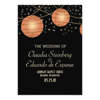 Festive Lanterns with Pastel Black & Apricot 5x7 Paper Invitation Card