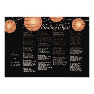 Festive Lanterns with Pastel Black & Apricot 5x7 Paper Invitation Card