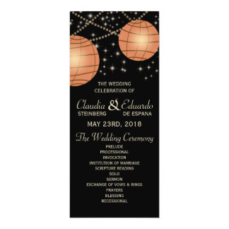 Festive Lanterns with Pastel Black & Apricot 4x9.25 Paper Invitation Card
