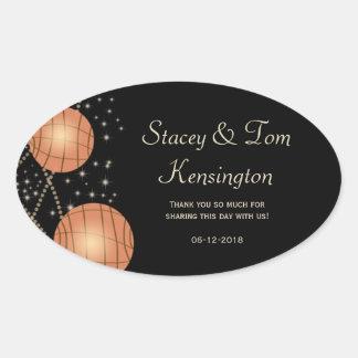 Festive Lanterns with Pastel Black & Apricot Oval Sticker