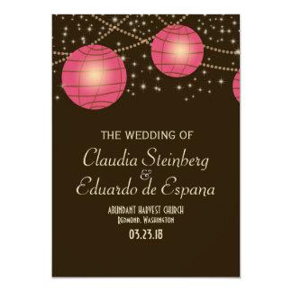 Festive Lanterns with Pastel Dark Brown & Pink 5x7 Paper Invitation Card