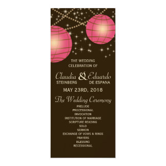 Festive Lanterns with Pastel Dark Brown & Pink 4x9.25 Paper Invitation Card