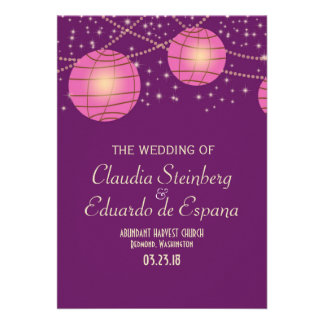 Festive Lanterns with Pastel Dark Purple Pink Personalized Invitation