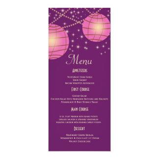 Festive Lanterns with Pastel Dark Purple & Pink 4x9.25 Paper Invitation Card
