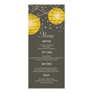 Festive Lanterns with Pastel Gray & Golden Yellow 4x9.25 Paper Invitation Card