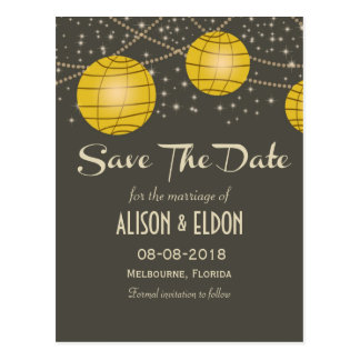 Festive Lanterns with Pastel Gray & Golden Yellow Postcard