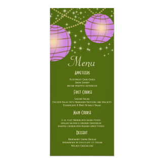 Festive Lanterns with Pastel Moss Green & Lavender 4x9.25 Paper Invitation Card