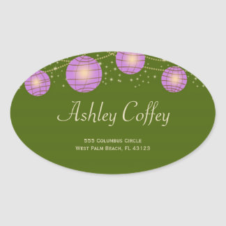 Festive Lanterns with Pastel Moss Green & Lavender Oval Sticker