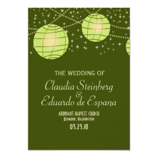 "Festive Lanterns with Pastel Olive & Apple Green 5"" X 7"" Invitation Card"