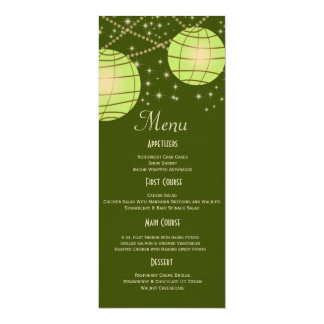 Festive Lanterns with Pastel Olive & Apple Green 4x9.25 Paper Invitation Card