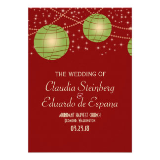 Festive Lanterns with Pastel Red Apple Green Custom Invites
