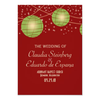 "Festive Lanterns with Pastel Red & Apple Green 5"" X 7"" Invitation Card"