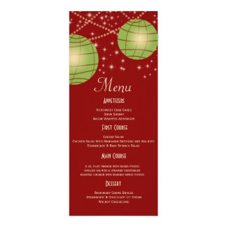 Festive Lanterns with Pastel Red & Apple Green 4x9.25 Paper Invitation Card