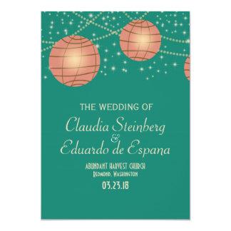 Festive Lanterns with Pastel Sea Green & Tea Rose 5x7 Paper Invitation Card