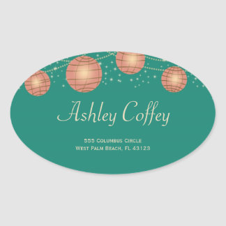 Festive Lanterns with Pastel Sea Green & Tea Rose Oval Sticker