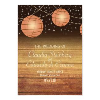 Festive Lanterns with Woodpanels 5x7 Paper Invitation Card
