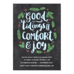 Festive Lettering | Chalkboard Holiday Party 5x7 Paper Invitation Card