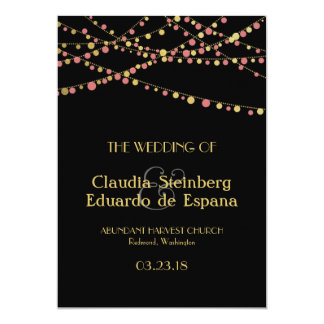 Festive Lights – Baby / Coral Pink + Gold 5x7 Paper Invitation Card