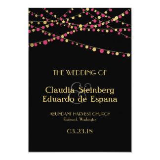 Festive Lights – Dark / Rose Pink + Gold 5x7 Paper Invitation Card
