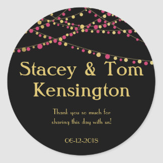 Festive Lights – Dark / Rose Pink + Gold Classic Round Sticker