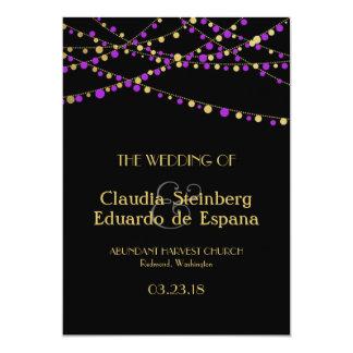 Festive Lights – Lavender / Purple + Gold 5x7 Paper Invitation Card
