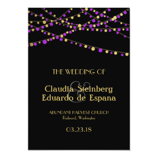Festive Lights – Lavender / Purple + Gold Invite