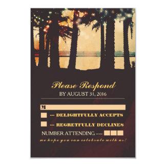 festive lights palms beach wedding RSVP Announcements