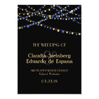 Festive Lights – Royal / Ocean Blue + Gold 5x7 Paper Invitation Card