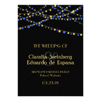 Festive Lights – Royal Ocean Blue + Gold Personalized Invitations