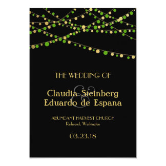 Festive Lights – Spring Green + Gold 5x7 Paper Invitation Card