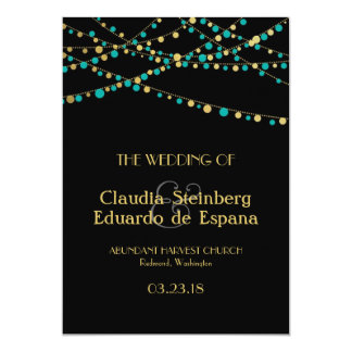 Festive Lights – Turquoise / Aqua + Gold 5x7 Paper Invitation Card