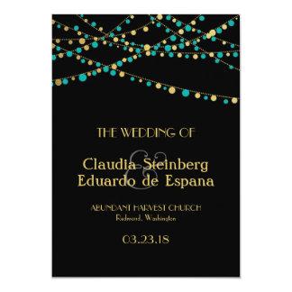Festive Lights – Turquoise / Aqua + Gold Personalized Announcement