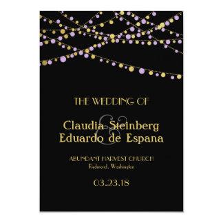 Festive Lights – Wisteria / Lavender + Gold 5x7 Paper Invitation Card