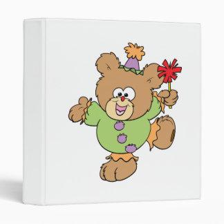 festive little clown teddy bear design 3 ring binder
