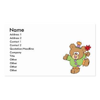 festive little clown teddy bear design business card