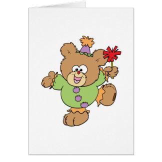 festive little clown teddy bear design card