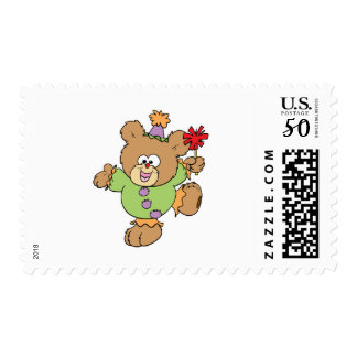festive little clown teddy bear design postage