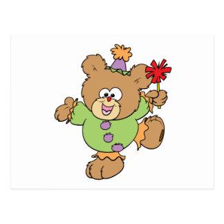 festive little clown teddy bear design postcard