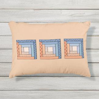 Festive Log Cabin Quilt Pattern Outdoor Pillow