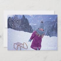Festive Logo Dusty Blue Holiday Photo Card