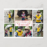 "Festive Love, Peace, Joy | Six Photo Collage Postcard<br><div class=""desc"">Festive love,  peace,  joy custom text graphic with decorative divider,  editable text field and six-photo collage template with red and white candy cane stripe design on  back.</div>"