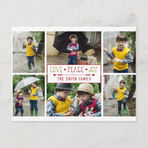 Festive Love Peace Joy  Six Photo Collage Postcard