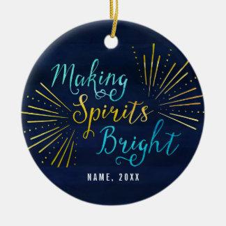 Festive Making Spirits Bright Christmas Double-Sided Ceramic Round Christmas Ornament