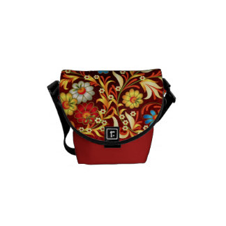 Festive Maroon Red Floral Motifs Decorative Messenger Bag