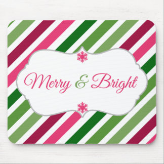 Festive Merry and Bright Holiday Mousepad