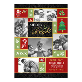 Festive Merry Bright Holiday Photo Cards