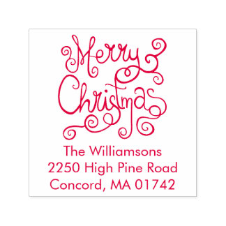 Festive Merry Christmas Calligraphy Return Address Self-inking Stamp