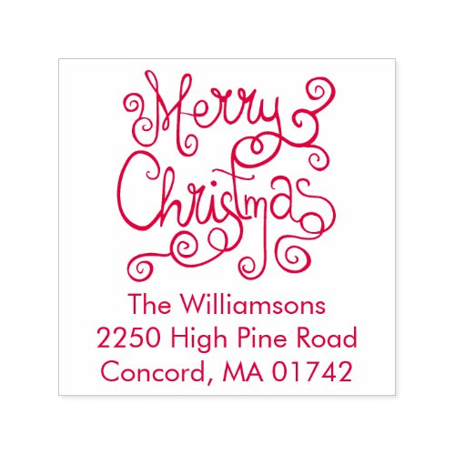 Festive Merry Christmas Calligraphy Return Address Self_inking Stamp