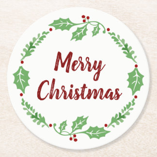 Festive Merry Christmas Holly Wreath Party Coaster